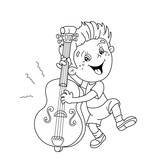 Coloring Page Outline Of Cartoon Boy Playing The Cello Musical Instruments Book For