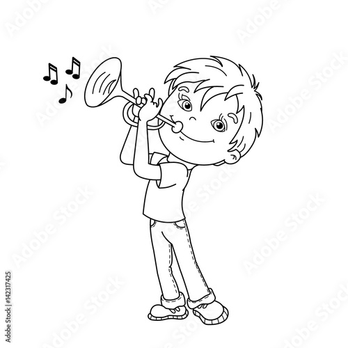 Quot Coloring Page Outline Of Cartoon Boy Playing The Trumpet