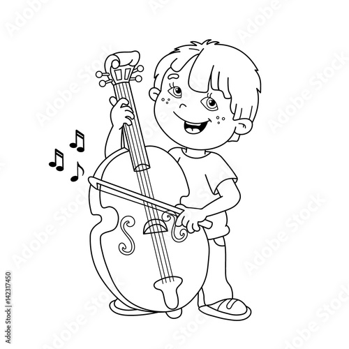 Coloring Page Outline Of cartoon Boy playing the cello. Musical ...