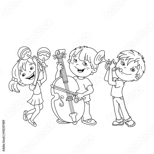 coloring page outline of children playing musical instruments coloring book for kids