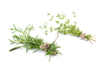 rosemary Herbs and Thyme fresh herb isolated on white background