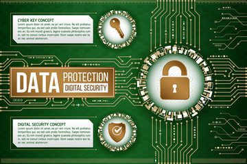 Digital technology concept of background with shield, eye and hacker bug. Circuit board background. Hi-tech electronic wires. Abstract information security. Modern safety digital background.