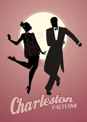 Elegant couple silhouettes wearing 20's style clothes dancing charleston. Vector Illustration