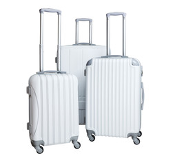 Three suitcases isolated on white background. Polycarbonate suitcases isolated on white. White suitcases.
