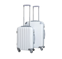 Two suitcases isolated on white background. Polycarbonate suitcases isolated on white. White suitcases.