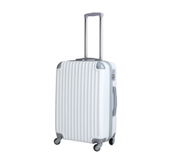 One suitcase isolated on white background. Polycarbonate suitcase isolated on white. White suitcase.