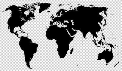 Black detailed world map isolated on transparent background. Vector illustration. EPS10