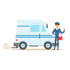 Postman In Blue Uniform With The Car Delivering Mail, Fulfilling Mailman Duties With A Smile
