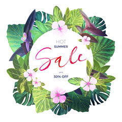 Bright green vector floral design template for summer sale. Tropical banner with green exotic palm leaves and pink flowers.