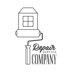 Repair and Renovation Service Black And White Sign Design Template With Text With Painting Roll And House