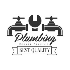 Best Quality Plumbing Repair and Renovation Service Black And White Sign Design Template With Text, Wrench And Two Taps