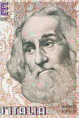Marco Polo portrait from Italian money