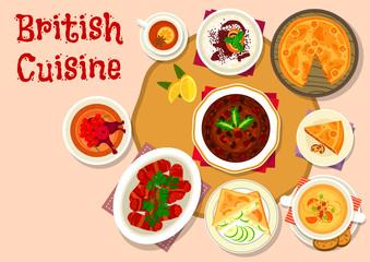British cuisine lunch dishes icon design