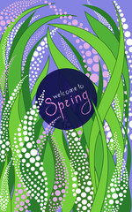 Vertical card with dark blue label handwritten lettering with floral graphic ornament - vector illustration