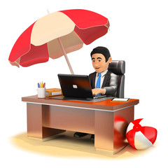 3D Businessman working in his office on the beach