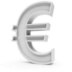 3d Rendering grey material Euro symbol isolated white background