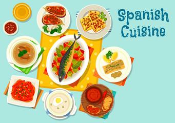 Spanish cuisine healthy lunch icon design