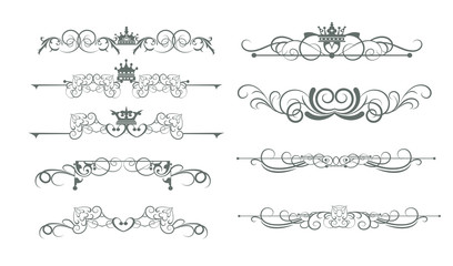 Victorian decorative elements, calligraphic, border, line, rules, frame. Vector set for Your design