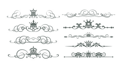 Ornate decorative elements, calligraphic, border, line, rules, frame. Vector set for Your design