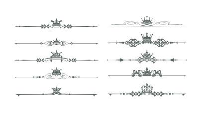 Decorative elements, calligraphic, border, line, rules, frame. Vector set for Your design