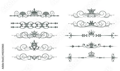 Vintage Decorative Elements Calligraphic Border Line Rules Frame Vector Set