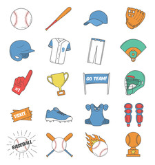 Baseball icon set. Vector graphic elements
