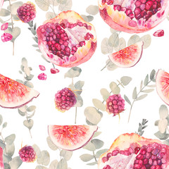 Watercolor exotic fruits seamless pattern with eucalyptus branches. Hand painted floral texture with plant and food objects on white background. Natural wallpaper: pomegranate, fig, raspberry