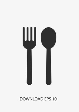 Cutlery icon, Vector spoon and fork icon