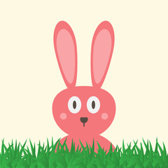 Head of a funny pink rabbit with big eyes. Green grass. Easter card.