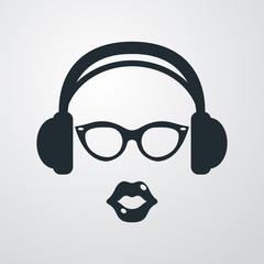 Icono plano auriculares con gafas y labios en fondo degradado