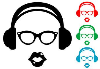 Icono plano auriculares con gafas y labios varios colores