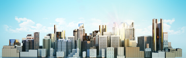 White city with reflection 3d rendering image