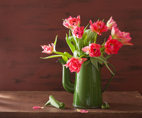 Fototapete - beautiful pink tulip flowers bouquet in green pot