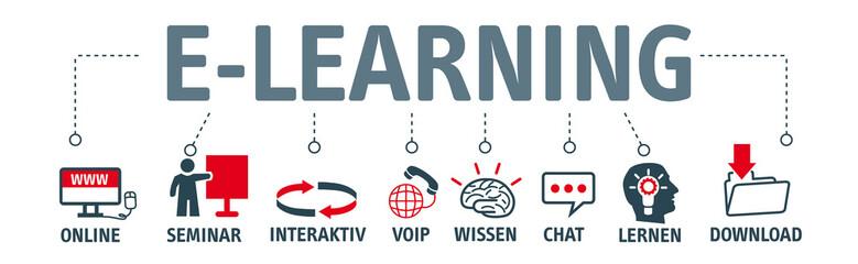 Banner e-learning concept. Piktogramme mit Schlüsselwörtern