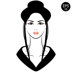 Japanese Woman in Kimono. Vector Stock illustration