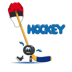 Hockey puck is ice skating, and in the background a hockey red helmet and an ice hockey hat are put on the stick
