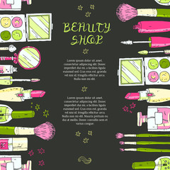 Makeup cosmetics tools background and beauty cosmetics. Isolated