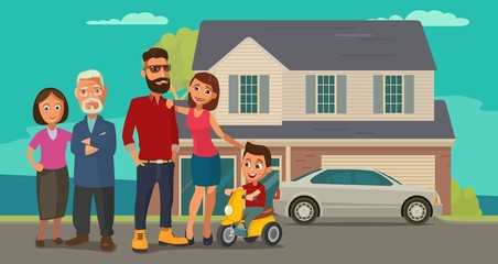 Family. Parents, grandparents and child on a tricycle on background with house and car.