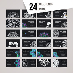 Set of vector design templates. Brochures in random colorful style. Business card with floral circle ornament. Mandala style.
