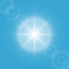 Sun flare on blue sky vector background.