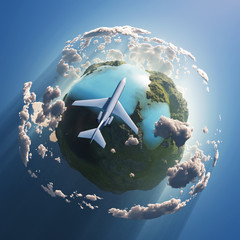 Wall Murals Ship Airplane flying over the Earth