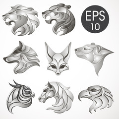 Animal logo design collection. Animal set. Lion, Horse, Eagle, Wolf, White bear, Husky, Fennec, Tiger