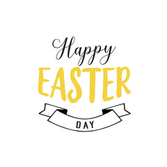 Happy Easter Day Lettering and Ribbon