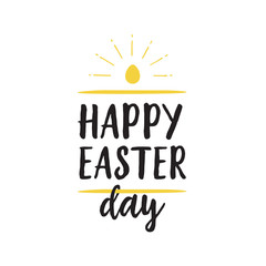 Happy Easter Day Lettering and Shining Egg