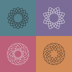Set of abstract linear pattern logos