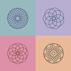 Set of linear pattern logos