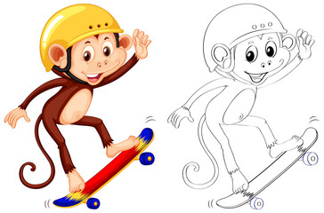 Animal outline for monkey skateboarding