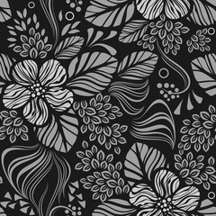 Black and white seamless floral wallpaper pattern