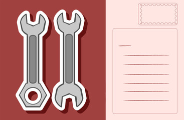 Postcard design with two wrenches