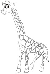 Animal doodle outline for cute giraffe